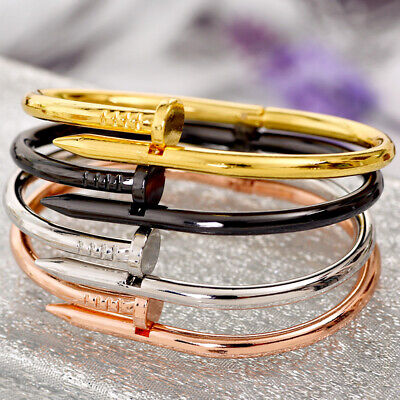 Simple Titanium Steel Stainless Steel Nails Silver Gold Punk Bracelets Bangles