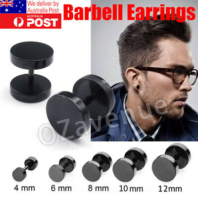 No Piercing Flat Round Black Magnetic Ear Stud Earrings Mens Womens Jewellery