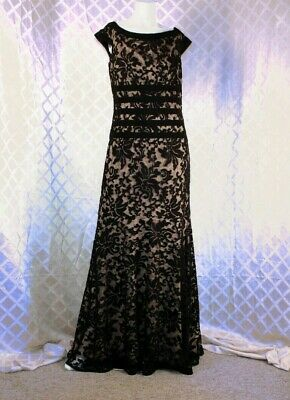 TADASHI SHOJI  Black Lace Floral with Nude Woman Long Dress