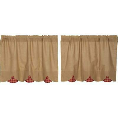 VHC Brands Burlap Red Gingham Check Scalloped Country Curtains Tier Set L24xW36