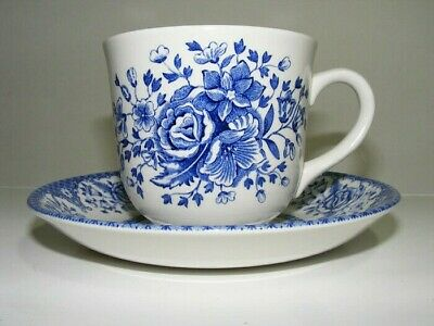 Kew Blue Porcelain Cup and Saucer Set by Wood and Sons China Made in England