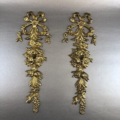 "Pair Vintage Solid Brass Floral Ribbon Scroll Ornate Plaque Wall Decor 13"" MCM"