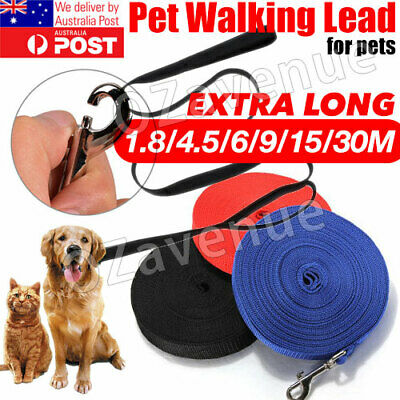 1.8/9/15/30M Long Dog Pet Puppy Training Obedience Recall Lead Leash Walk Black