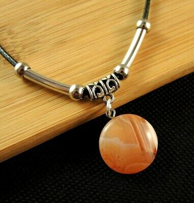 Carnelian Round Gemstone Necklace Pendant with Silver Tube Beads #2220