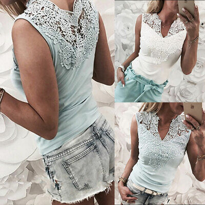 Fashion Womens Summer Lace Vest Top Sleeveless Blouse Casual Tank Tops T-Shirt