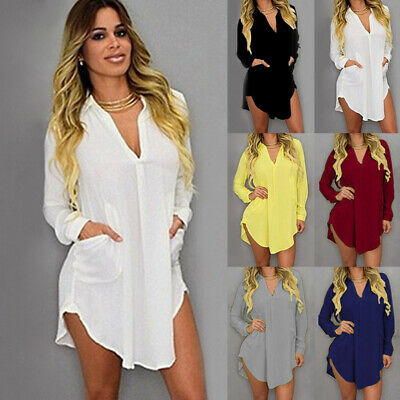 Womens Plus Size V Neck Loose Mini Shirt Dress Ladies OL Work Office Tunic Tops
