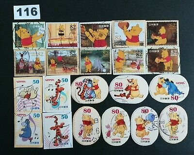 Japan Commemorative Winnie The Pooh Lot of Used Stamps On Paper Lot.116