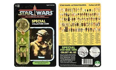 Vintage 1984 Star Wars POTF Princess Leia Organa Combat Poncho MOC Carded Coin