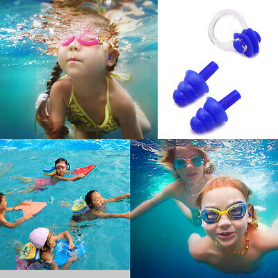 Soft Silicone Ear Plugs & Nose Clip Set Case Kid Child Swimming Water Pool Sea
