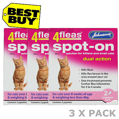 Johnsons 4Fleas Cats Kittens Spot-On Dual Action Kill Fleas & Larvae x 3 PACK