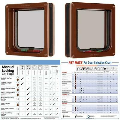 "Cat Mate 4 Way Locking Flap with Door Liner to 50mm (2""), Brown (235B), 16.5..."