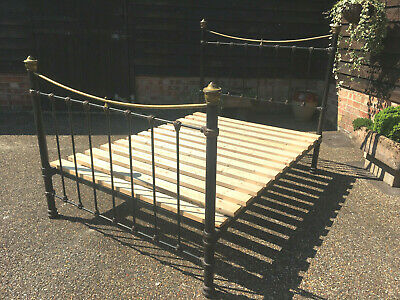 Antique Edwardian Brass & Iron Double Bed & Wooden Base