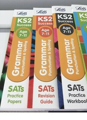 NEW 4 Books Letts KS2 SATs Grammar Work, Practice, Revision+ Maths Test Age 7-11