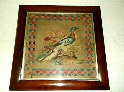 Rare Antique 19Th C Woolwork Sampler Of An Exotic Bird In Original Frame, 1863