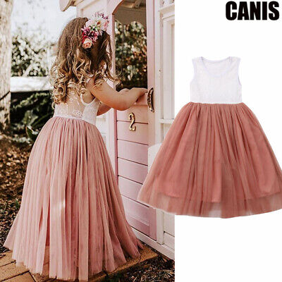 US Toddler Kid Baby Girl Dresses Princess Pageant Party Lace Tutu Dress Sundress