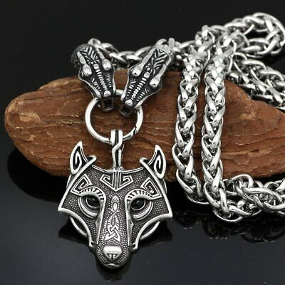 Stainless Steel Viking Dragon Head with Goat Thor's Hammer Wolf Pendant Necklace