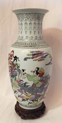 Ancien Vase Chine Chinois Porcelaine Marque Famille Chinese