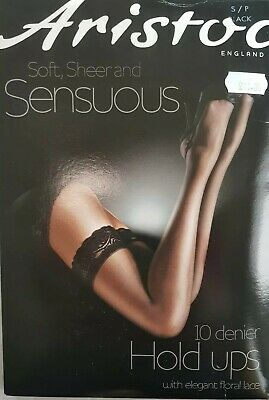 062fd4ac1 Aristoc Sensuous Stockings 10 Denier Floral Lace Top Black Hold ups BNIB  Small