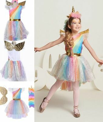 Girls Unicorn Costume Tulle Tutu Fancy Dress Headband Wing Cosplay Party Clothes