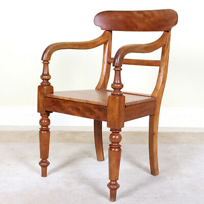 Antique Desk Chair Carved Fruitwood Armchair Victorian Office Elbow Chair