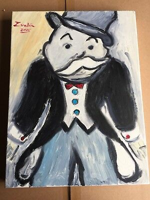 """Monopoly Painting Signed """"smirk"""" Alec Monopoly  Kaws By Zvulin COA"""