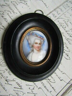 Lovely Antique Well Painted Portrat Miniature Of Period Lady Porcelain French