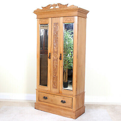 Antique Victorian Wardrobe Carved Satinwood Mirrored Armoire Art Nouveau