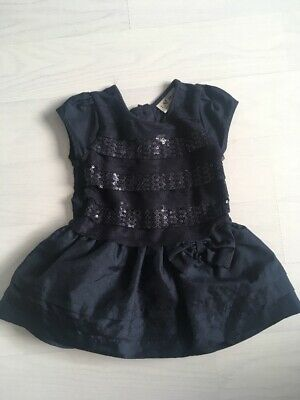 NEXT Baby Girl Navy Dark Blue Party Dress Sequin 6-9 Months