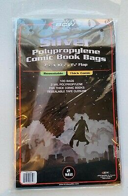 100 Resealable Silver/Regular Comic Bags - Thick 2 Mil 7 1/4 x 10 1/2 x 1 1/2