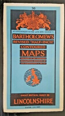 "Bartholomew's ""Half-Inch"" Contoured Map. Sheet Number 30 LINCOLNSHIRE"