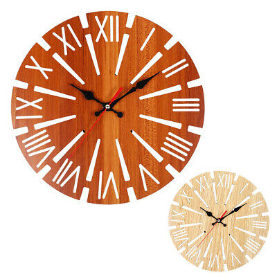30cm Vintage Wooden Wall Clock Shabby Chic Rustic Kitchen Home Antique Style