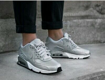 separation shoes 31d9d e704c Womens Older Girls metallic silver Nike air max 90 leather trainers size 5  EU 38