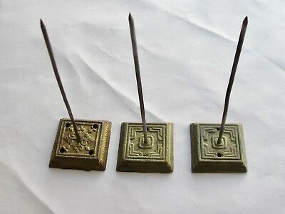 Lot Of (3) Receipt Stands Note Spike Square Metal Ornate Vintage Antique