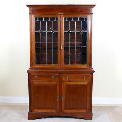 Antique Leaded Stained Glass Bookcase Arts & Crafts Glazed Cabinet Mahogany