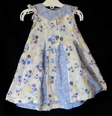 Baby Girls M&S Blue White Floral Patchwork Sleeveless Dress Age 12-18 Months