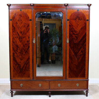Antique Victorian Compactum Wardrobe Mirrored Mahogany Triple Armoire Large