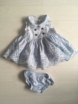 Mothercare Heritage White Blue Girls Dress New Baby Up To 7.5lbs Embroidery
