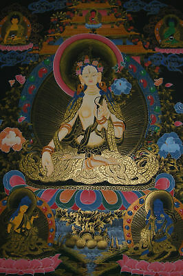 Wonderful Painting! Very Fine Thangka White Tara - Dolma from Nepal 66x50