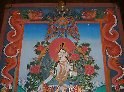 Very Fine Thangka Painting! White Tara - Dolma with Dragon from Nepal