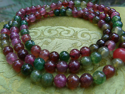 Rare Mala Tibetan Wooden Rosary from Pink, Red & Green Agate 108 Pearls 0 5/16in