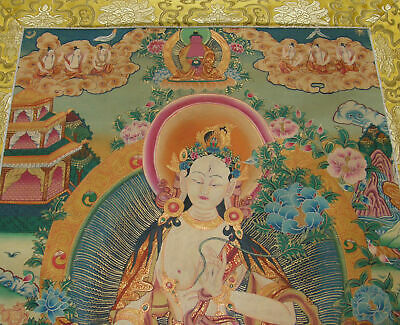 Large, Especially Fine Thangka White Tara-Dolma 24 K Gold in Brocade