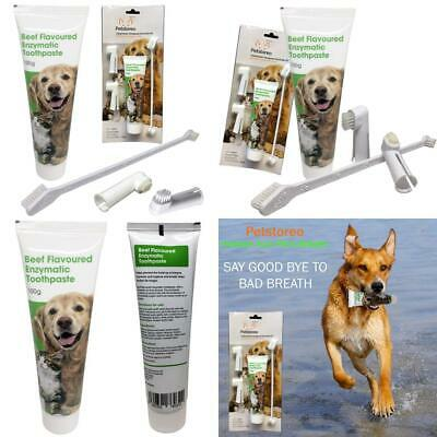 Beef Flavour Enzymatic Dog Toothpaste With Toothbrush Set - Remove or Cat...