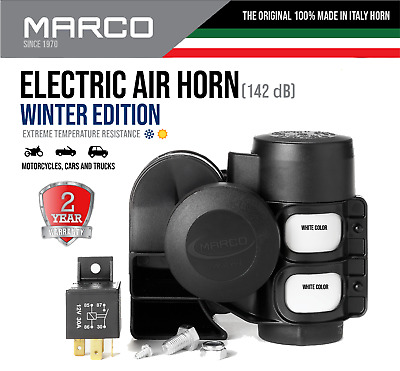 Compact Dual Tone Air Horn Electric Super Loud Car Motorcycle Truck All Weather