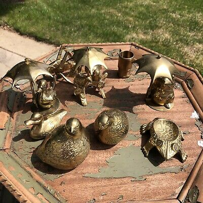 Vintage Brass Frogs Birds Grass Hopper Statue Metal Figure Mini (Lot Of 9