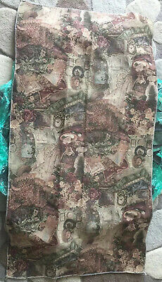 "Vintage Floral Embroidered Table Runner Tablecloth Tapestry Earth Tone 26"" X 51"""