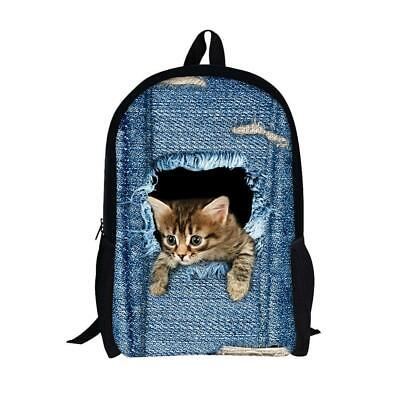 Moolecole Unisex 3D Cute Cat/Dog Patterns Daypack Backpack Boys Girls Casual...