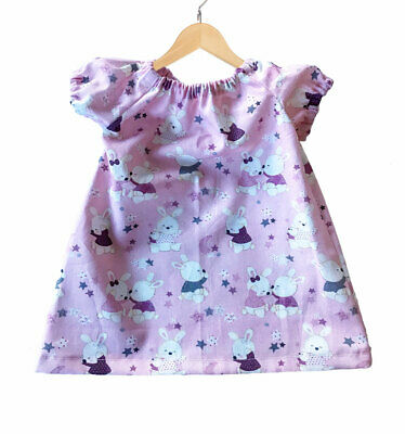 Baby Girls Handmade Dress. Pretty Pink Bunny Rabbit Design . 0-3 months-BD04