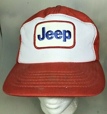 fd5d5cbf3a6dc Vintage JEEP Trucker Style Hat Cap Snapback Patch Red Padded One Size Fits  All