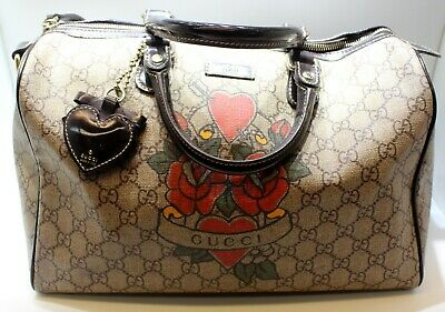 62a5cd5fe5e3 Gucci GG Monogram Tattoo Floral Boston Joy Handbag Small Satchel Heart Tote  Bag