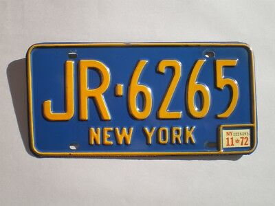 Authentic 1972 New York License Plate